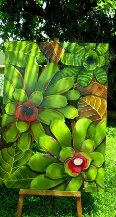 Succulent Painting Green 38 Ideas For 2019 Tropical Flowers, Colorful Succulents, Tropical Art, Acrylic Painting Canvas, Canvas Wall Art, Arte Naturalista, Watercolor Flowers, Watercolor Art, Mosaic Flowers
