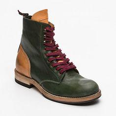 Chaussures montantes femme, cuir vert tige : 14 cm