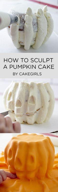 HOW TO CREATE A PUMPKIN CAKE USING A SCULPTED BUTTERCREAM TECHNIQUE | STEP X STEP