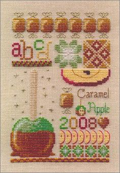 Cross Stitch Craze: Sweet Tooth Cross Stitch Samplers All Cakes and Pies! Candy Caramel Apples