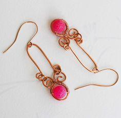 Fuchsia Pink Mosaic Bead Copper Wire Wrap Spiral U Earrings Handmade Unique