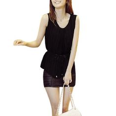 Allegra K Women Scoop Neck Sleeveless Pleated Chiffon Long Shirt Black XS Allegra K. $9.80