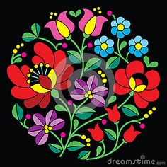 Kalocsai embroidery – Hungarian round floral folk pattern on black – Stock Illustration - Stickerei Ideen Hungarian Embroidery, Folk Embroidery, Learn Embroidery, Chain Stitch Embroidery, Embroidery Stitches, Machine Embroidery, Bordado Popular, Embroidery Designs, Stitch Head