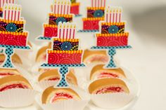 Cut out the cake from the plates and apply a toothpick to use as dessert toppers! #CelebrateExpress #BirthdayParty