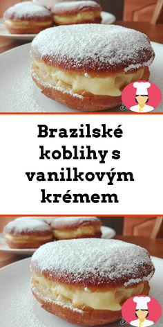 Brazilské koblihy s vanilkovým krémem Czech Recipes, Hamburger, Goodies, Bread, Baking, Food, Polish, Kuchen, Studying