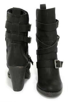 Black Buckled Mid-Calf Boots