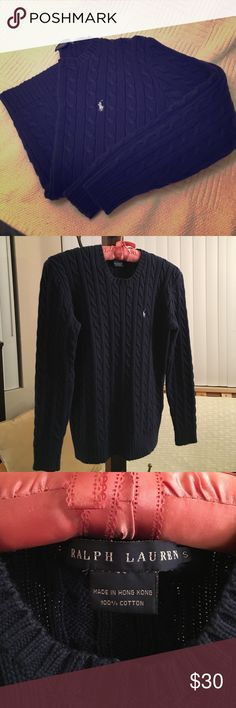 Ralph Lauren⚜Navy Cable Knit Cotton Sweater⚜Small Good ConditionMinor Fading From WashingSome Pilling Along Sides and UnderarmsLength Has Shrunk Since PurchasedNavy Blue with Light Blue/Gray Polo Horse LogoStretches with Wear but Resumes Fit After Washing  ➡️AVAILABLE IN MULTIPLE COLORS, SIZES, STYLES✳️CHECK CLOSET FOR MORE✳️ITEM-SPECIFIC BUNDLE PRICING OPTIONS✳️ALL •REASONABLE• OFFERS WILL BE CONSIDERED!⬅️ Ralph Lauren Sweaters Crew & Scoop Necks