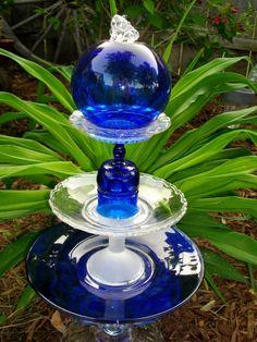 depression glass garden art totem pole   Froggin Around Glass Garden Totem by nowthen10 on Etsy