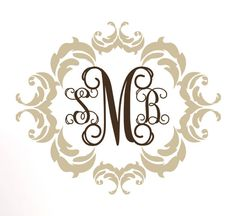 Personalized Vinyl Wall Decal Shabby Chic Monogram by PlayOnWalls