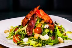 Salad with zucchini, crispy bacon, cheese and cherry tomatoes! Great salad in our new restaurant from Floreasca, Bucharest