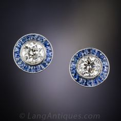 1.90 Carat Art Deco Style Diamond and Sapphire Ear Studs - 20-1-5220 - Lang Antiques