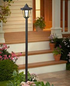 Emit a warm, friendly glow outside your home with this Solar Lamppost. Four solar panels on the top of the lamppost soak up light during the day to power it at night. Its classic construction makes it ideal for an entryway, garden or driveway. On/off swi