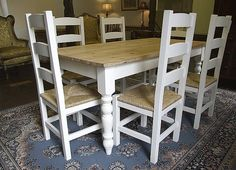 Turned leg, hand-painted, Farmhouse Table with an antiqued, waxed pine top. Shown here with 6 matching 'Amish' rush seated, beechwood chairs. Paint is Farrow & Ball 'Pointing' eggshell finish