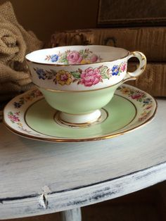 Vintage Tea Cup and Saucer Melba Bone China A230 Made In England Mint Green Multi Colored Flowers Gold Trim