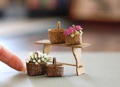 Miniature tulips in wicker baskets