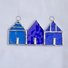 Stained Glass Suncatcher Beach Huts - Blue and Turquoise