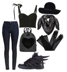 """""""Dark Heart"""" by animalisticinstinctive on Polyvore featuring adidas, Barbour, Rosie Assoulin, MCM, Gucci and Monki"""