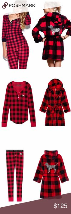 🆕VS PINK Red Plaid Thermal PJ Set & Bling Robe Victoria's Secret PINK Sold Out Red Plaid Thermal Set and matching cozy Bling Robe! No longer available, brand new! *I ONLY HAVE THE SOLID BLACK PANTS AVAILABLE FOR THIS SET NOW - Buffalo pants are sold out. PINK Victoria's Secret Intimates & Sleepwear Pajamas