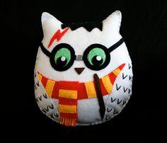 Harry Potter Owl  Handmade Felt Plush Toy by Scrabblekitty on Etsy, $35.00