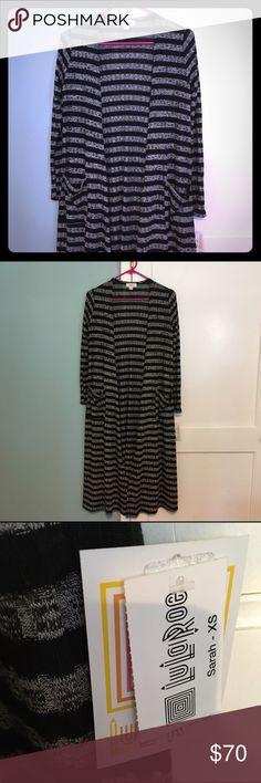 LuLaRoe Sarah Cardigan NWT Black and gray rib stripe. Very soft and stretchy. Pockets. LuLaRoe Sweaters Cardigans
