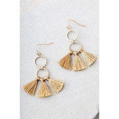 Quite the Pair Beige Tassel Earrings ($12) ❤ liked on Polyvore featuring jewelry, earrings, beige, gold tassel earrings, tassle earrings, gold earrings, fish hook earrings and gold hoop earrings