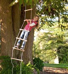 Sturdy Indoor/Outdoor Rope Ladder, Maple-wood - Natural Wood- 6'L HearthSong® http://www.amazon.com/dp/B00A9UOQA6/ref=cm_sw_r_pi_dp_xRq2wb114SRMD