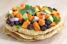Black bean sweet potato tostadas