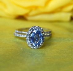 Items similar to 3 rings engagement/wedding set, diamonds, ceylon blue sapphire on Etsy Ceylon Sapphire Ring, Blue Sapphire Rings, Blue Rings, Wedding Rings Vintage, Vintage Rings, Wedding Bands, Ring Verlobung, Just In Case, Trendy Wedding
