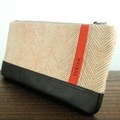 Clutch - Linen and Leather - Hand-printed - Persimmon Herringbone. $65.00, via Etsy.