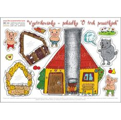 Pohádková vystřihovánka - O třech prasátkách / Zboží prodejce pestrenka. Three Little Pigs, Medieval Town, Educational Activities, School Projects, Paper Dolls, Embellishments, Free Pattern, Felt, Children