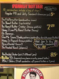 PB and Jellies - Peanut Butter Menu Board