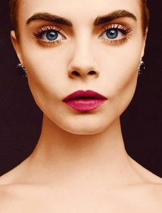 bold brows + berry lips l cara delevingne.