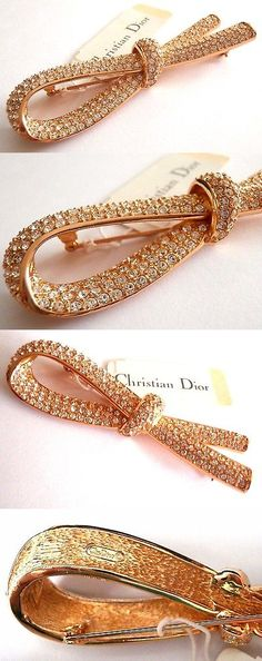 Pins Brooches 165894: Signed Christian Dior Pin Brooch Ribbon Of Hope Gold Plated W Crystals 3 New (D -> BUY IT NOW ONLY: $140.25 on eBay!