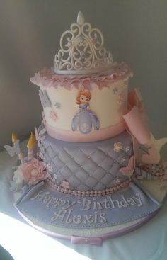 Sofia The First Cake Chocolate Chip Cookie Cake With Cookie Dough Filling Iced In Swiss Meringue Buttercream Fondant Covered With Gumpaste...