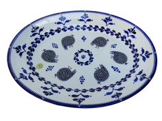 Guinea Fowl Serving Platter Just In Time For Christmas!  #blue #cobalt #dots #guineafowl #white #southafrica #capetown #import #draganajevtovic