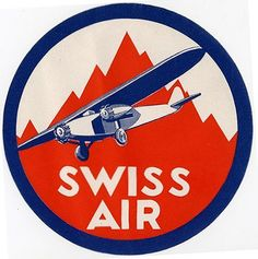 Swissair label, 1931. Mountain flying, the real Swiss flying.