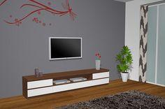 Hoy vamos a ver un proyecto 3D en el cual hemos combinado los mueble con 2 colores de maderas diferentes el color blanco y el color nogal, en donde hemos puesto una composición de módulos con un bajo con 2 cajones a los lados y un módulo hueco con cajón en el centro con la carcasa abajo y un sobre encima de los módulos, este mueble nos hace las veces de mueble TV ya que como podemos ver tenemos la TV colgada en la pared.