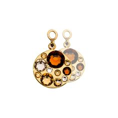 EAC2064GS Sparkling earring coins with bronze, gold and clear Swarovski crystals, silver plated and 15mm