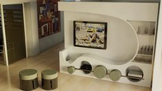 """Titolo: """"Game Over""""  Il concept nasce dall''dea di parete divisoria, basandosi sullo studio di forma delle architetture di zaha hadid. una postazione relax da una parte e una moderna parete attrezzata dall'altra, contornate da un'interattività accattivante con alcune componenti della stessa."""