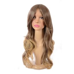 Long Brown/Blonde Ombre Wavy Wig with Sideswept Fringe with Dark Root... ($67) ❤ liked on Polyvore featuring beauty products, haircare, hair styling tools and hair care