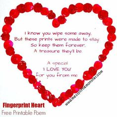 Fingerprint heart poem keepsake craft for babies, toddlers and preschoolers. An easy Mothers Day or Valentines Day activity with free printable poem. Use a mini canvas easel or make greeting cards. Valentines Day Poems, Kinder Valentines, Valentines Day Activities, Homemade Valentines, Valentine Day Crafts, Time Activities, Fingerprint Heart, Fingerprint Crafts, Mothers Day Crafts For Kids