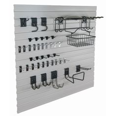 Create a 4x8-foot storage organization section in your garage or utility room with the GlideRite Slatwall Garage Organization Garden Kit. Each kit includes an assortment of hooks and baskets to get you organized.