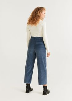 Long design Culotte fit Corduroy fabric Loops Two front pockets Zip and hook fastening Trousers Women, Corduroy, The Twenties, Mom Jeans, Normcore, Fitness, Pants, Outlet, Model