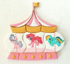 Little Pony Carousel Cookies Crazy Cookies, Cookies For Kids, Iced Cookies, Cute Cookies, Sugar Cookies, Circus Cookies, Carousel Cake, My Little Pony Cake, Unicorn Foods