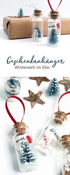 DIY Winterwelt im Glas. Mach deine eigenen Geschenkanhänger. Auch als Schmuck für den Weihnachtsbaum eine gute Idee. #gifttag #christmasornament