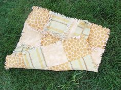 Safari Flannel Rag Baby Security Blanket Quilt  by AuntBugs, $20.00