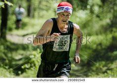 "Miass, Russia - June 28, 2015: old man run during marathon ""Running clean water-2015"", Miass, Russia - June 28, 2015"