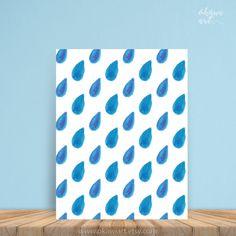 Watercolor blue rain drops watercolor print kids room by OkawiArt