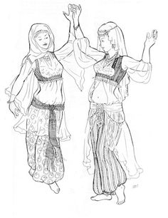 Bahiga's Blouse. This blouse may be worn under any of the vests and boleros or under the Ghawazee coat. May be made hip length to tuck into harem pants or full length to be worn over harem pants and under the fitted bodice coats. Looks best when made in a sheer fabric - chiffon, cotton vole, batiste or lining fabric. Three variations shown. One size fits all. $10.75 USD