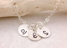 Initial Necklace  1 2 3 4 5 disks silver disk by MegusAttic, $28.00